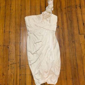 BCBG White Satin One Shoulder Formal Dress